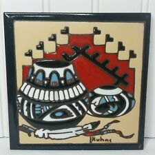 L Kuhne 1995 Earthtones Native American Red Clay Tile Trivit Southwest Pottery