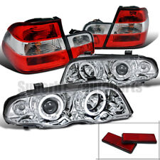 1999-2001 BMW E46 4D Halo Projector Headlights Chrome+Tail Trunk Light Red/Clear