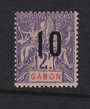 GABON : 1912 Wide Spacing surcharge 10 on 2f violet/rose SG 77B mint