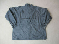 VINTAGE Nike Jacket Adult Extra Large Gray Black Spell Out Swoosh Coat Men 90s *