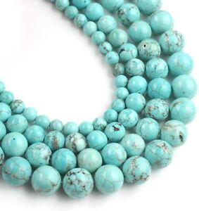 Round Natural Blue Turquoise Gemstone Loose Beads  30PCS 6mm