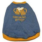 top paw medium dog Doggie  beer Bar  drinking buddy shirt Sweater Top Blue Gold
