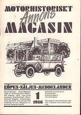 Motorhistoriskt Magasin Annon Swedish Car Magazine 1 1986 Opel 032717nonDBE