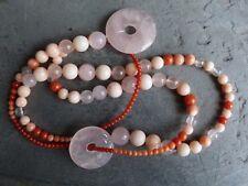 Collar/collar con coral rojo, salmón y se levantó, y cuarzo rosa