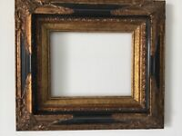 VINTAGE FRENCH ROCOCO STYLE GILT/BLACK FRAME FOR PAINTING 10 x 8 INCH