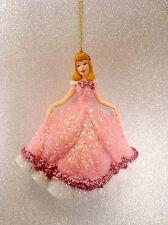 Disney Weihnachts Ornament Cinderella Pink NEU Glitzer Christbaumschmuck Kugel