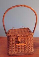 Vintage Woven Wicker Sewing /Trinket Basket Box
