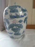 Chinese Style Blue Green Pink Ginger Jar with Lucky Frog Lid Perfect Condition