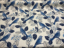 Home Accent Chickadee Birds Blue Willow Upholstery Fabric by the yard