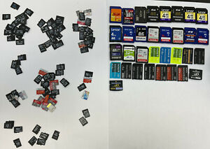 Job Lot 132 x Used Micro SDHC XD Duo Mobile Phone Camera Memory Cards