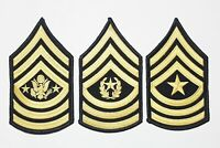 (3 Pair) US Army Blue Gold Sergeant Major Rank Insignia Chevron Patches - Female