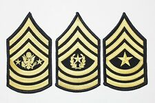 (3 Pair) US Army Blue Gold Sergeant Major Rank Insignia Chevron Patches - Male