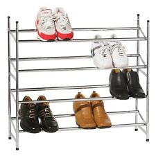 4 TIER CHROME METAL EXTENDING SHOE RACK STORAGE STAND HOLDS 20 PAIRS OF SHOES