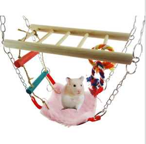 Suspension Bridge Hanging Toy with Hammock Bed  Hamster Mouse Cage Nest