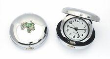 Green Tractor Enamel Design Chrome Bedside Alarm Clock Farming GIft