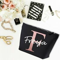 Personalised Initial Name Letter Make Up Wash Bag Birthday Gift Present MBP6
