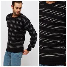 Men Jumper Contrast Black Multi Striped Basic Sweater Round Crew Neck Knitwear