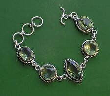 "GREEN TOPAZ STERLING SILVER PLATED 6.25-7.25"" BRACELET SWEET!"