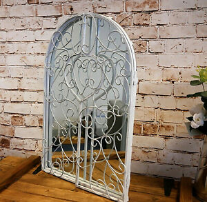 Shutter Style Wall Mirror White Metal Home Decor Garden French Decorative Vanity
