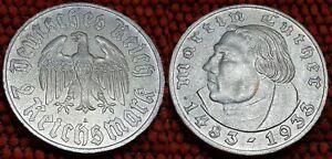 Luther 2 ReichsMark 1933 A-D-E-F Third Reich Silver Coins