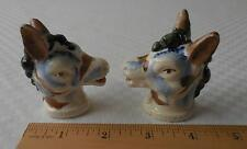Painted Donkey/Horse Head Ceramic Salt & Pepper Shakers - Japan