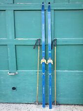 """ANTIQUE Wooden 75"""" Long HICKORY Skis + Bindings with Blue Finish + Bamboo Poles"""