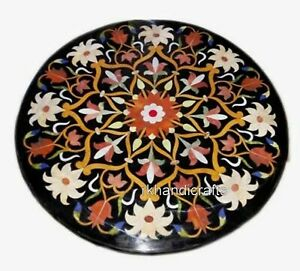 21 Inches Marble Center Table Top Patio Coffee Table Hand Crafted Floral Pattern
