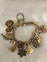 VTG Charm Bracelet Monet gold tone bracelet aspen chinatown vale horse + more