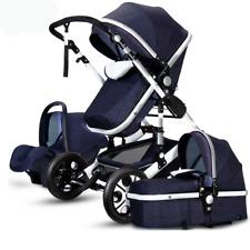 FLuxury Baby Stroller 3 in 1 High view Pram foldable pushchair bassinet&Car Seat