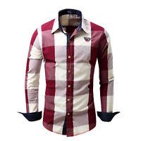 Mens Long sleeves Shirts Plaids Checks Casual Formal Dress Tops Cotton ST6429