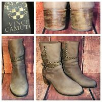 Vince Camuto Donato Coffee Gray Studded Leather Motorcycle Ankle Boots Womens 10