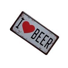 I LOVE BEER car License plate Metal Sign Tin Poster Pub Bar Cafe Shop Home