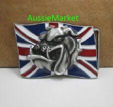 1 x mens ladies belt buckle uk flag union jack british bulldog england jeans dog