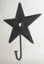 Western BLACK Cast Iron TEXAS STAR with Nail HOOK Coat Hat misc Rack Holder