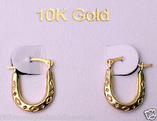 Solid 10k Yellow Gold U shape Oval Patterned Hoops Hoop Earrings Clearence Sale