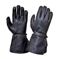 Mens Black Leather Motorcycle Gauntlet Gloves 8293
