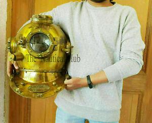 "Vintage 18"" Divers Helmet U.S Navy Mark V Deep Sea ~ Antique Scuba Diving Helmet"