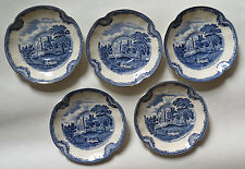 Johnson Bros saucers, five, Old Britain Castles, Kenilworth Castle in 1792, blue