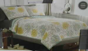Threshold Stitched Floral Quilt + 2 Shams White, Grey, Green & Yellow - King NEW
