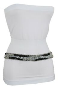 Hippie Women Grey Skinny Band Fashion Belt Hip High Waist Black Silver Beads S M