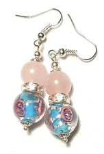 Short Silver Turquoise & Pink Rose Quartz Earrings Drop Dangle Pierced Glass