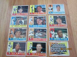 1960 Topps White Sox Baseball Card Lot of 12 Team Minoso McBride Rivera Simpson