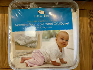 Little Ewe 100% Pure Australian Wool Crib/Cot Duvet quilt with matching cover