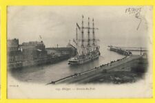 cpa FRANCE Marine 76 - DIEPPE vers 1900 Port Entrée d'un 3 MÂTS Voilier Sailing