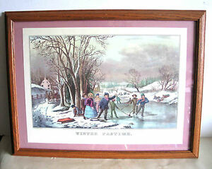 CURRIER & IVES Winter Pastime Framed Print Winter Snow Ice Skating FREE SH