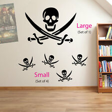 Skull and Cross Bones Pirates Swords Skulls Kids Wall Stickers Decal Decor A19 Red Large (set of 1)