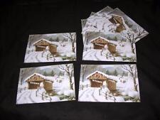 8 Vtg Red Farm Studio Pawtucket Ri Xmas Postcard Snow Covered Bridge Scene Nos