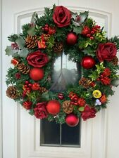 18 inch Decorated Christmas Wreath With Silk Red Roses Pine Cones FREE POSTAGE