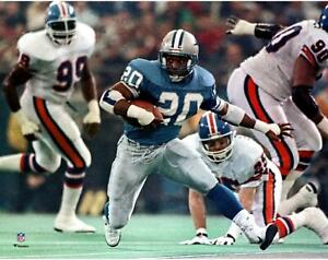 """Barry Sanders Detroit Lions Unsigned Blue Jersey Running 11"""" x 14"""" Photo"""