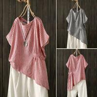 Women Short Sleeve Stripe Long Shirt Tops Asymmetrical Hem Blouse Tee Shirt Plus